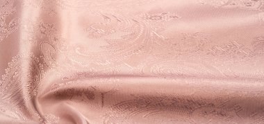 Texture, background, pattern. Fabric silk beige with a pattern o