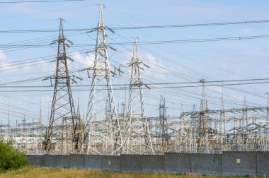 Landscaping technogenic, high-voltage power lines. The natural c
