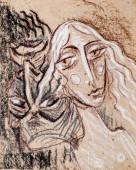 egy zsírkrétával rajzolt kép. Angel és Devil. Kísértés Angyal
