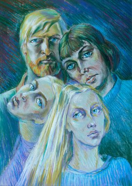 drawing colored wax crayons. The family, two daughters, mother a