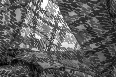 Background design texture, black and white silk fabric, abstraction, copyright print, military camouflage fleece fabric, your designs will allow you to be military,