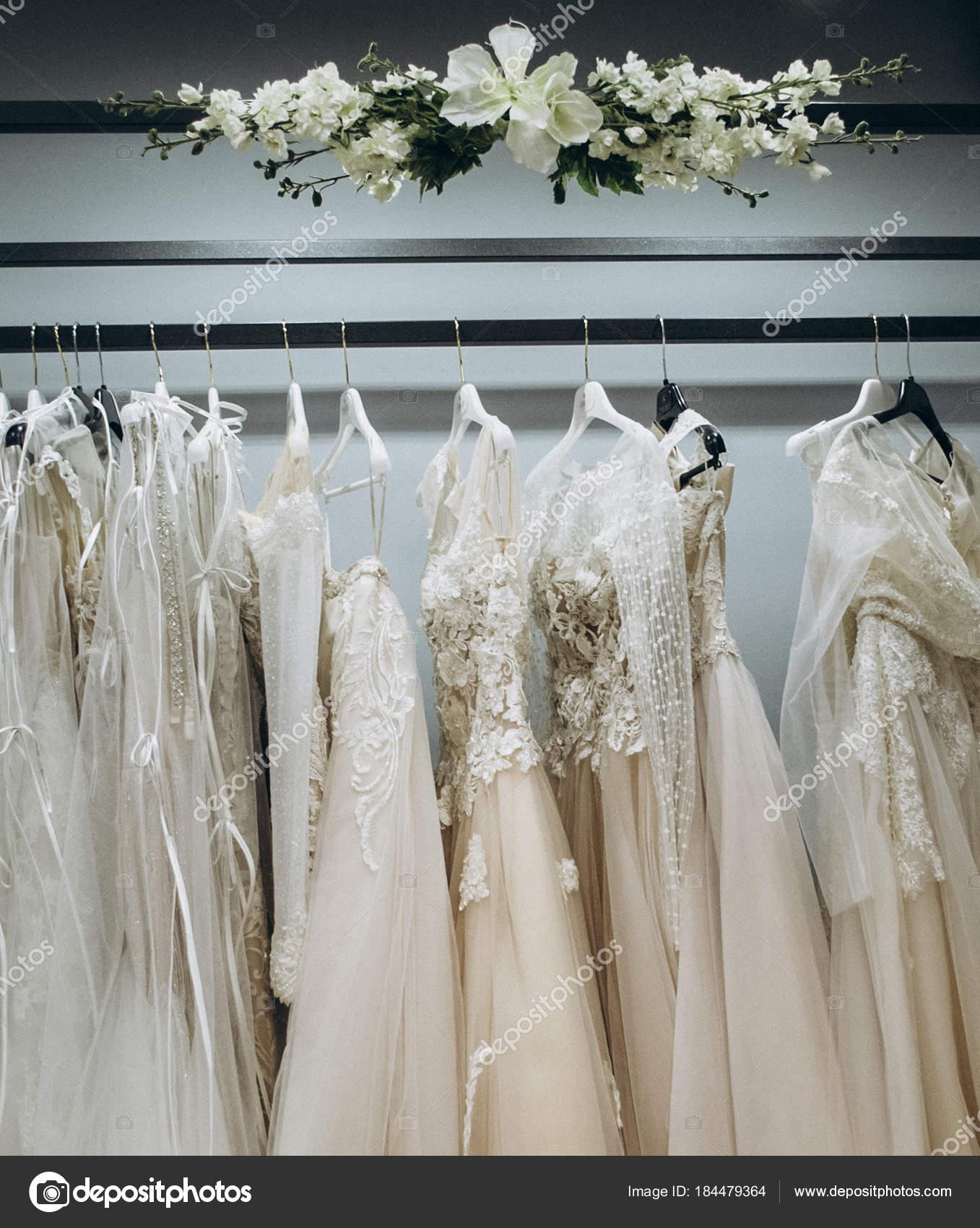 a0bc902b48 Hanger Hang Couple Wedding Dresses — Stock Photo © Barbarian21 ...