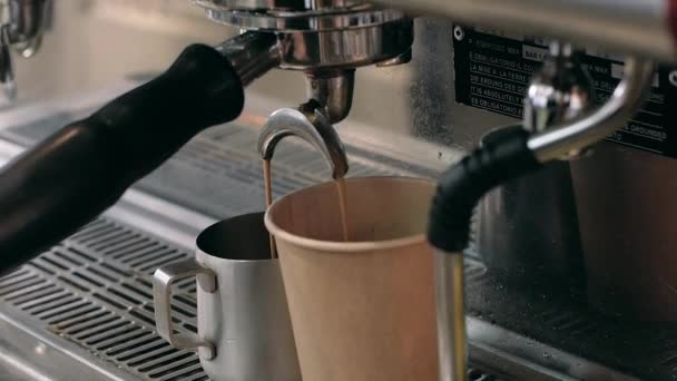 Barista at work. The process of making coffee