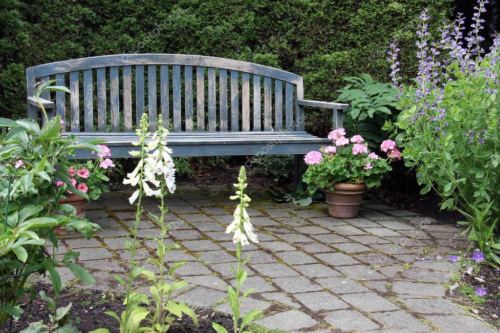 Rustic wooden garden bench