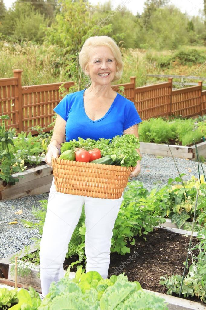 Senior lady gardener