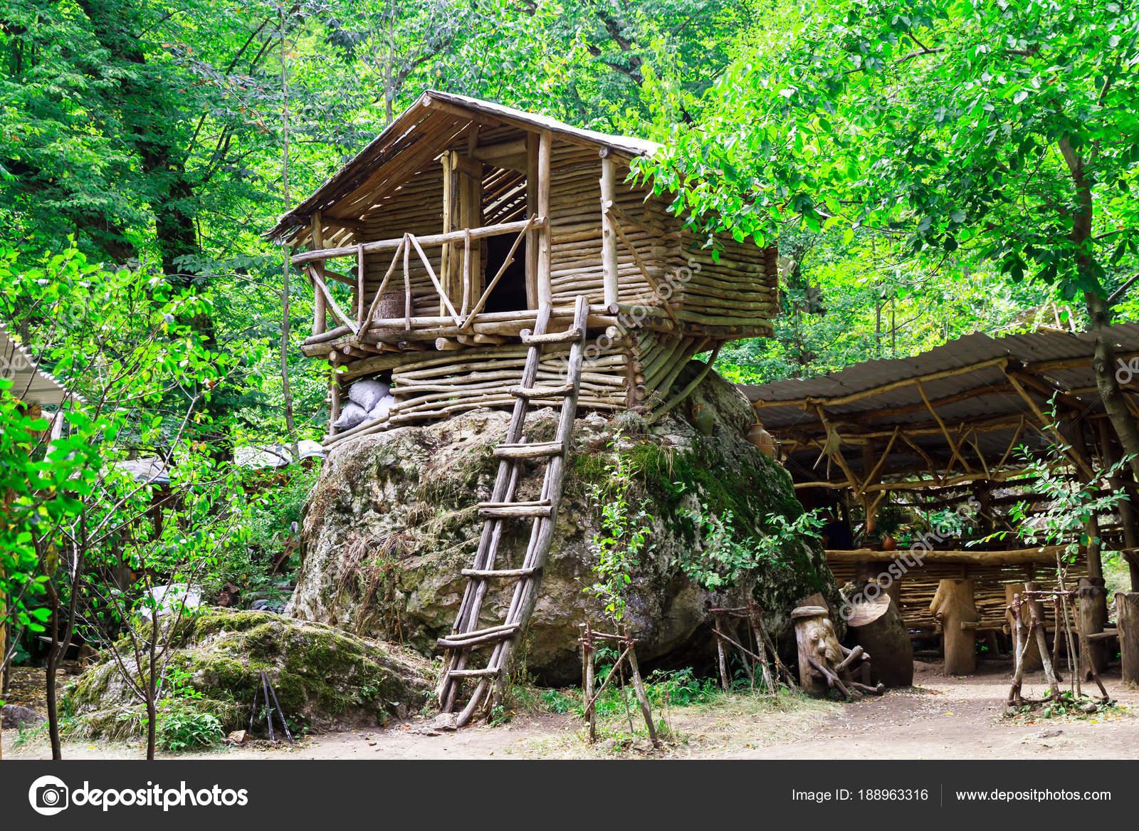 Houten huisje met toegang trap het bos u2014 stockfoto © danielt.1994