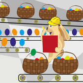 Fényképek Húsvéti nyuszi számít a tojásokat a futószalagon