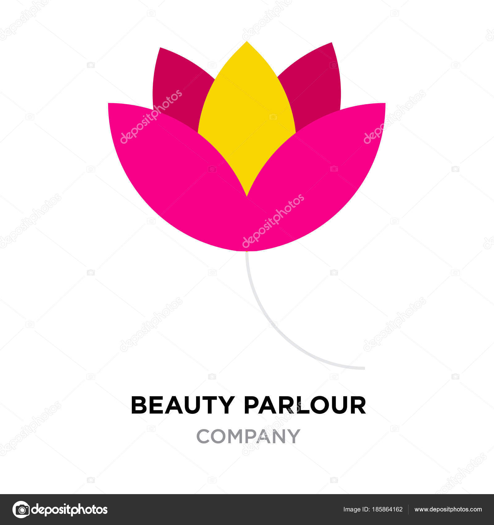 Beauty Parlour Logo For Company Red And Yellow Flower Vector Ic
