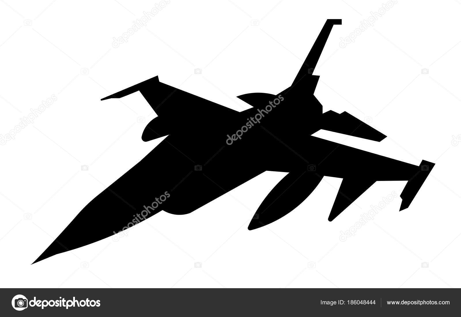 F16 Silhouette On White Background Stock Vector C Vector Best 186048444