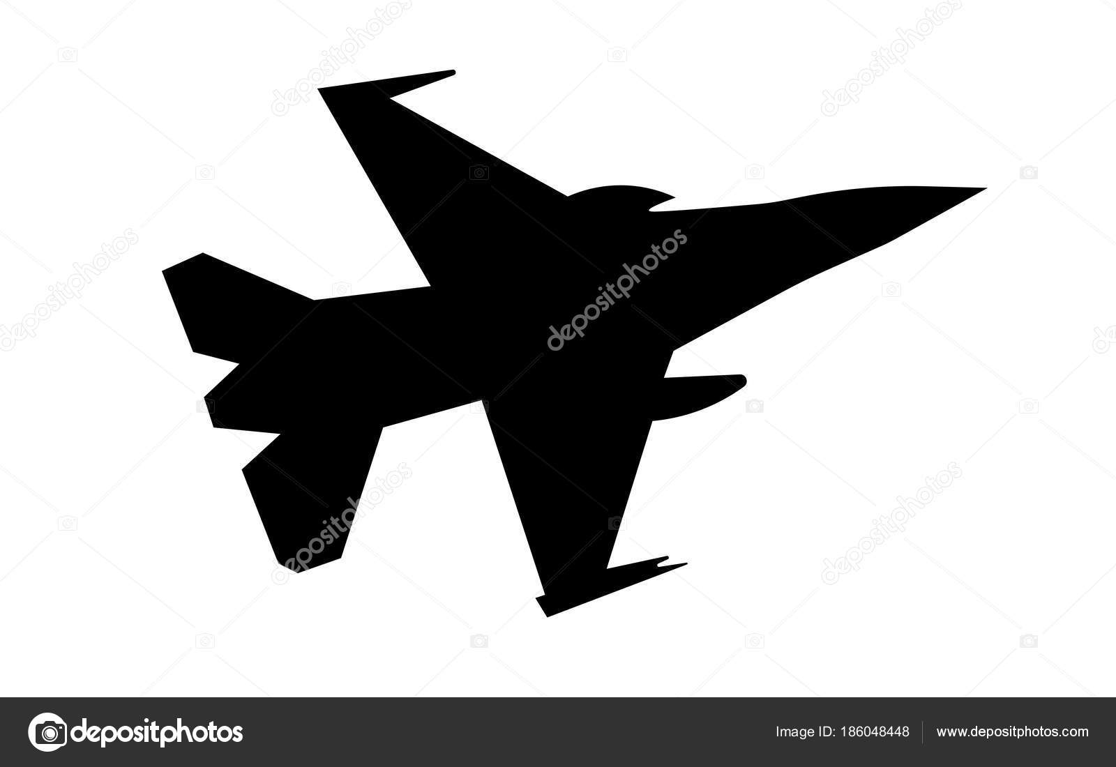 F16 Silhouette On White Background Stock Vector C Vector Best 186048448