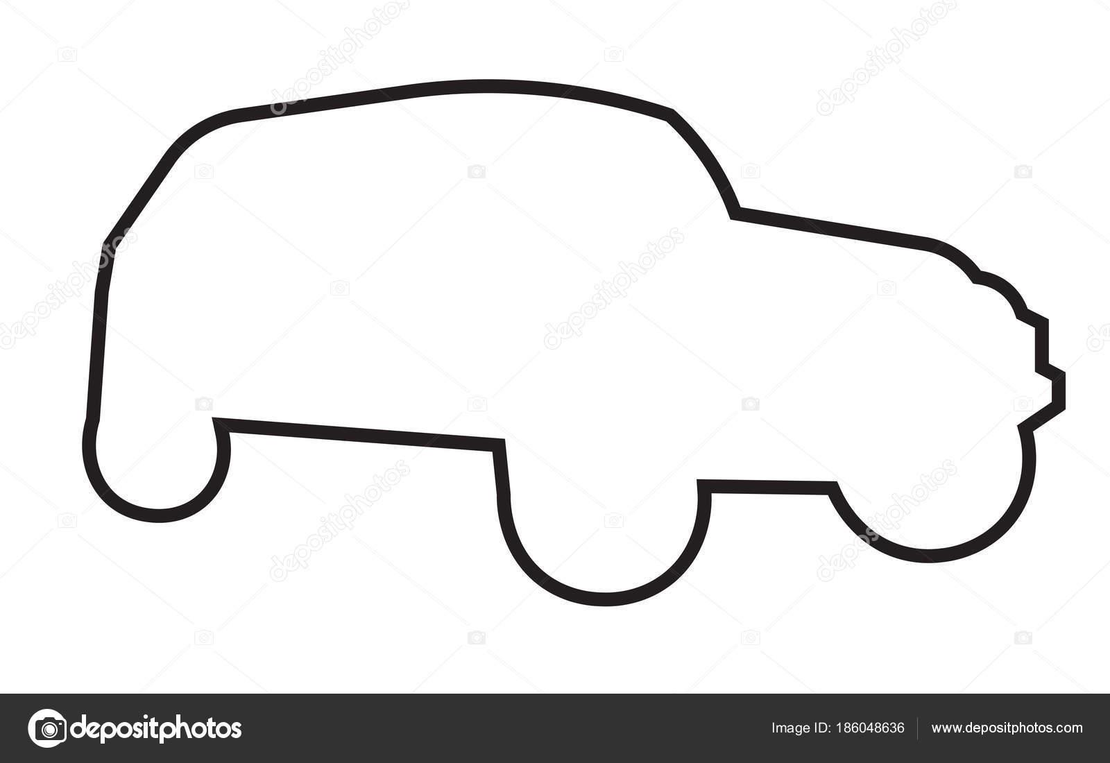 Jeep Wrangler Silhouette Umriss Auf Weißem Hintergrund Stockvektor