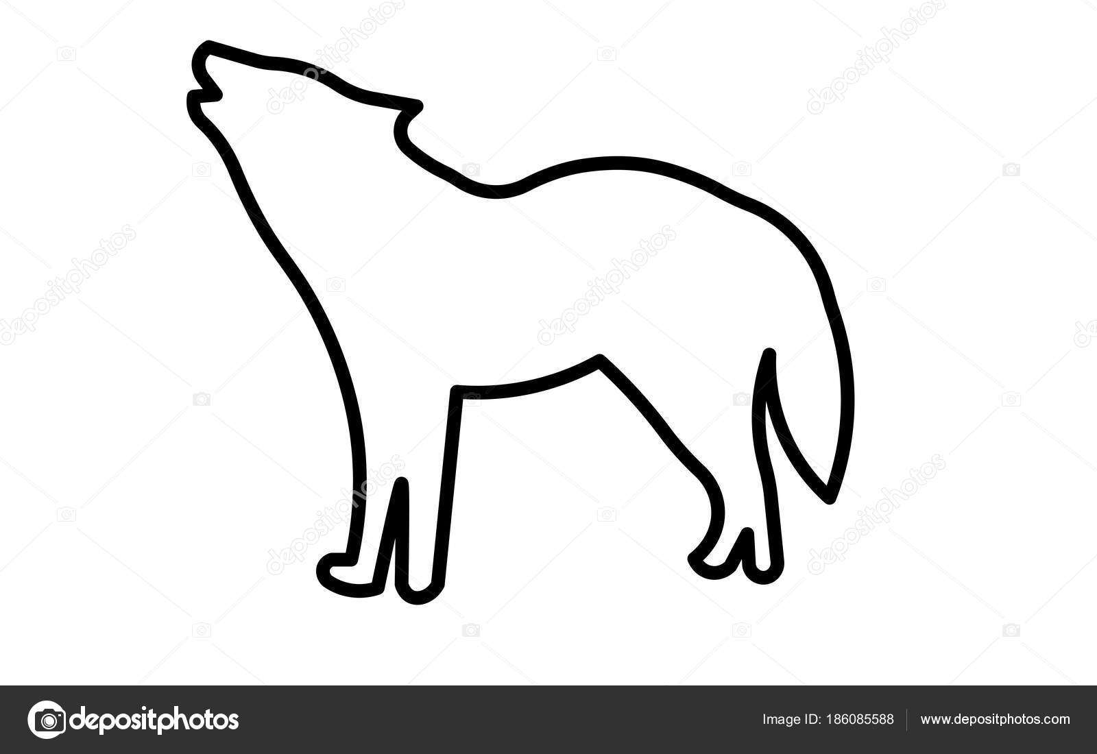 uivos de lobo silhueta clip art estrutura de tópicos no fundo branco