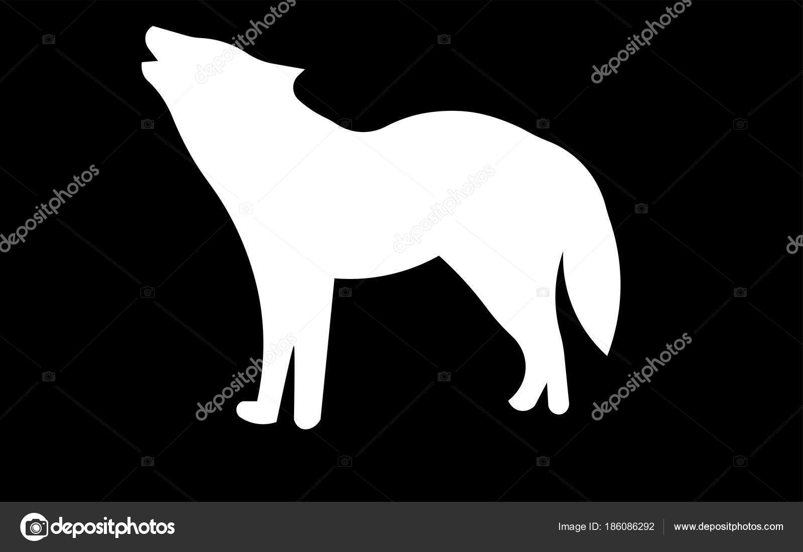 Silueta Lobo: Blanco Aullido Prediseñadas De Lobo Silueta Sobre Fondo