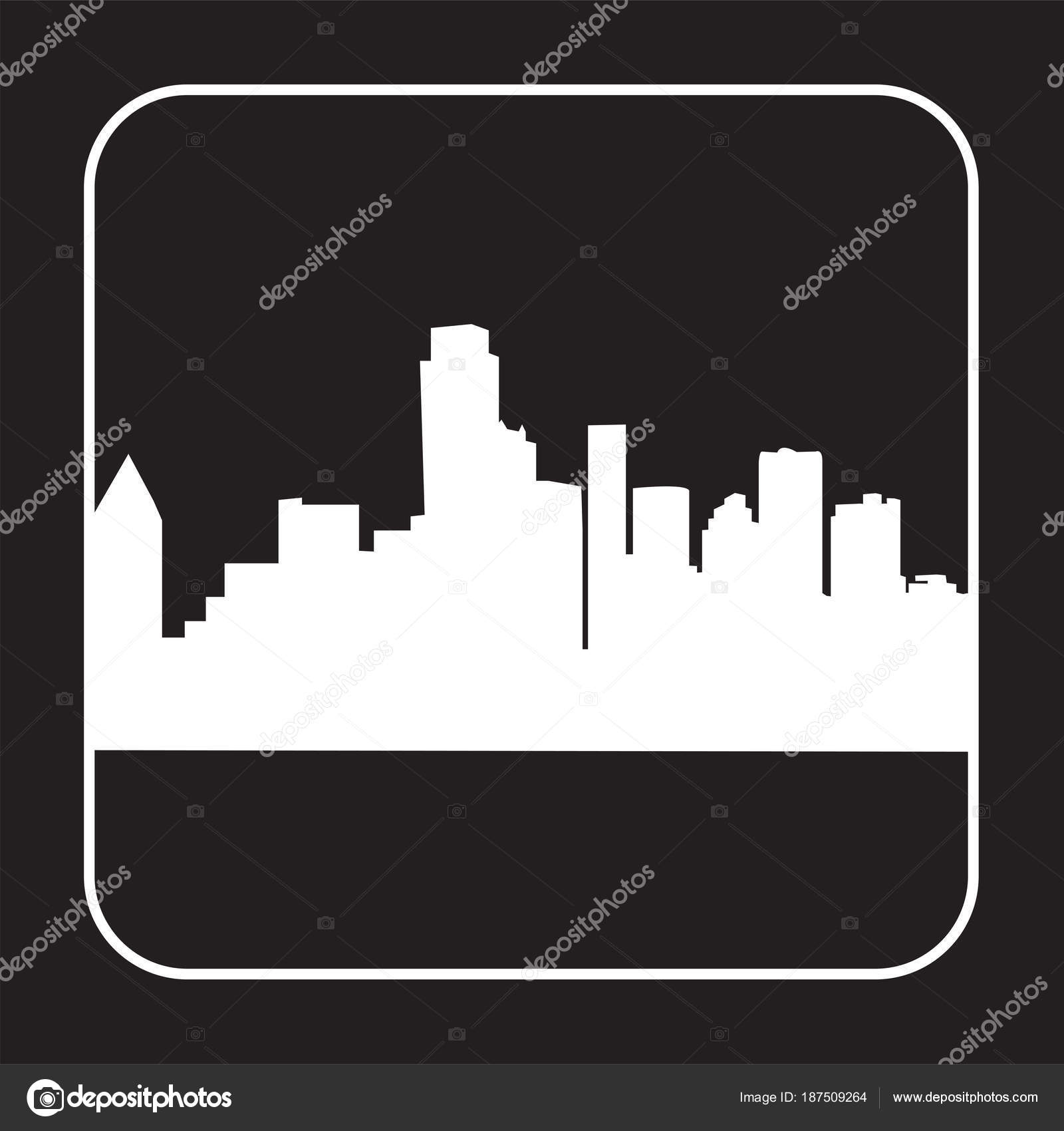 white dallas skyline silhouette black background stock vector