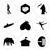 Photo Set Of 9 simple editable icons such as elastic, municipal, bear, figure skater, avocado, submarine, reaper, folded hands, stripper, can be used for mobile, web UI