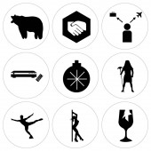 Photo Set Of 9 simple editable icons such as broken glass, stripper, figure skater, pharaoh, christmas bulb, set top box, travel agent, folded hands, bear, can be used for mobile, web UI