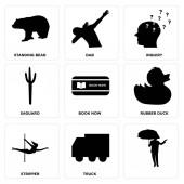 Fotografie Eingestellt von 9 einfache bearbeitbare Symbole wie LKW, Stripperin, Gummiente, jetzt buchen, Saguaro, Anfrage, Dab, Standing Bear, eignet sich für mobile, Web-Ui