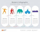 Photo Infographics design vector and figure skater, hiker, bear, circus tent, row of houses icons can be used for workflow layout, diagram, annual report, web design. Business concept with 5 options, steps