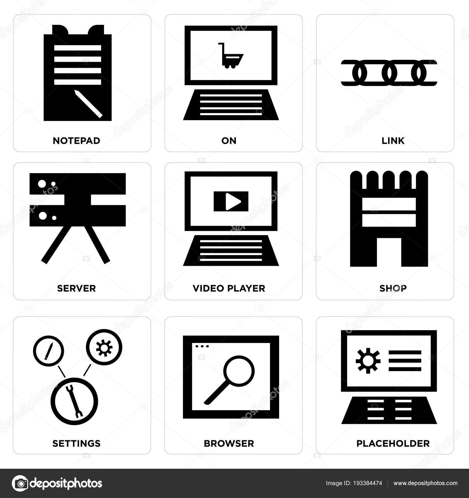 Set Simple Editable Icons Placeholder Browser Settings Shop