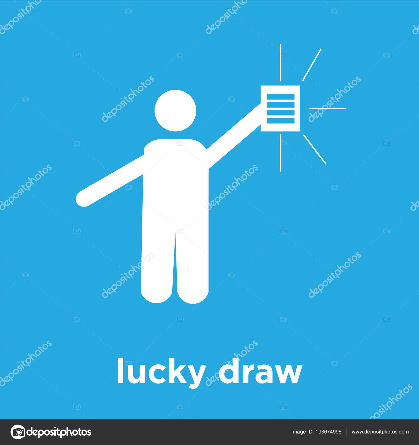 Lucky Draw Icon Isolated On Blue Background Stock Vector