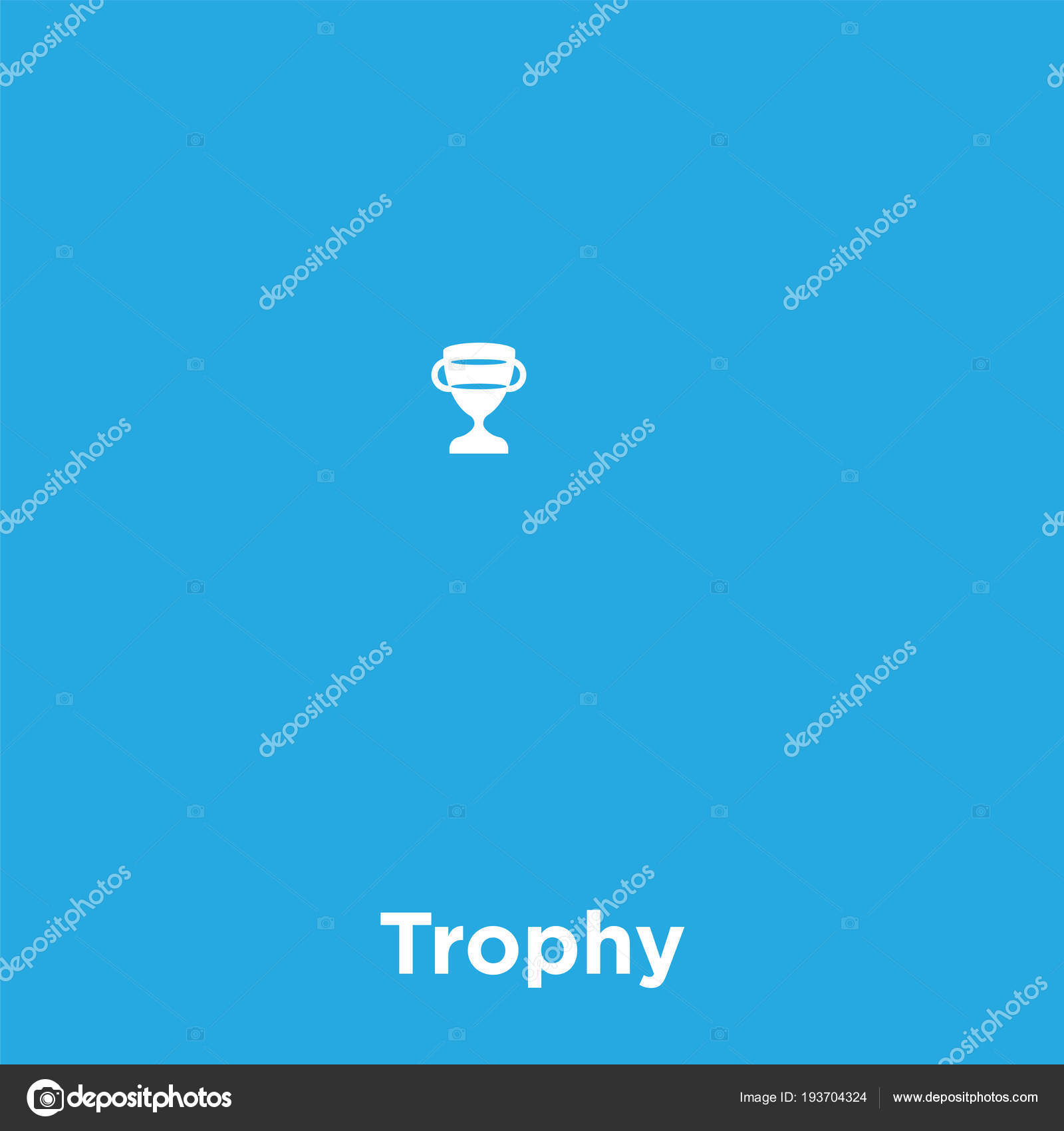 Trophy Icon Isolated On Blue Background Stock Vector