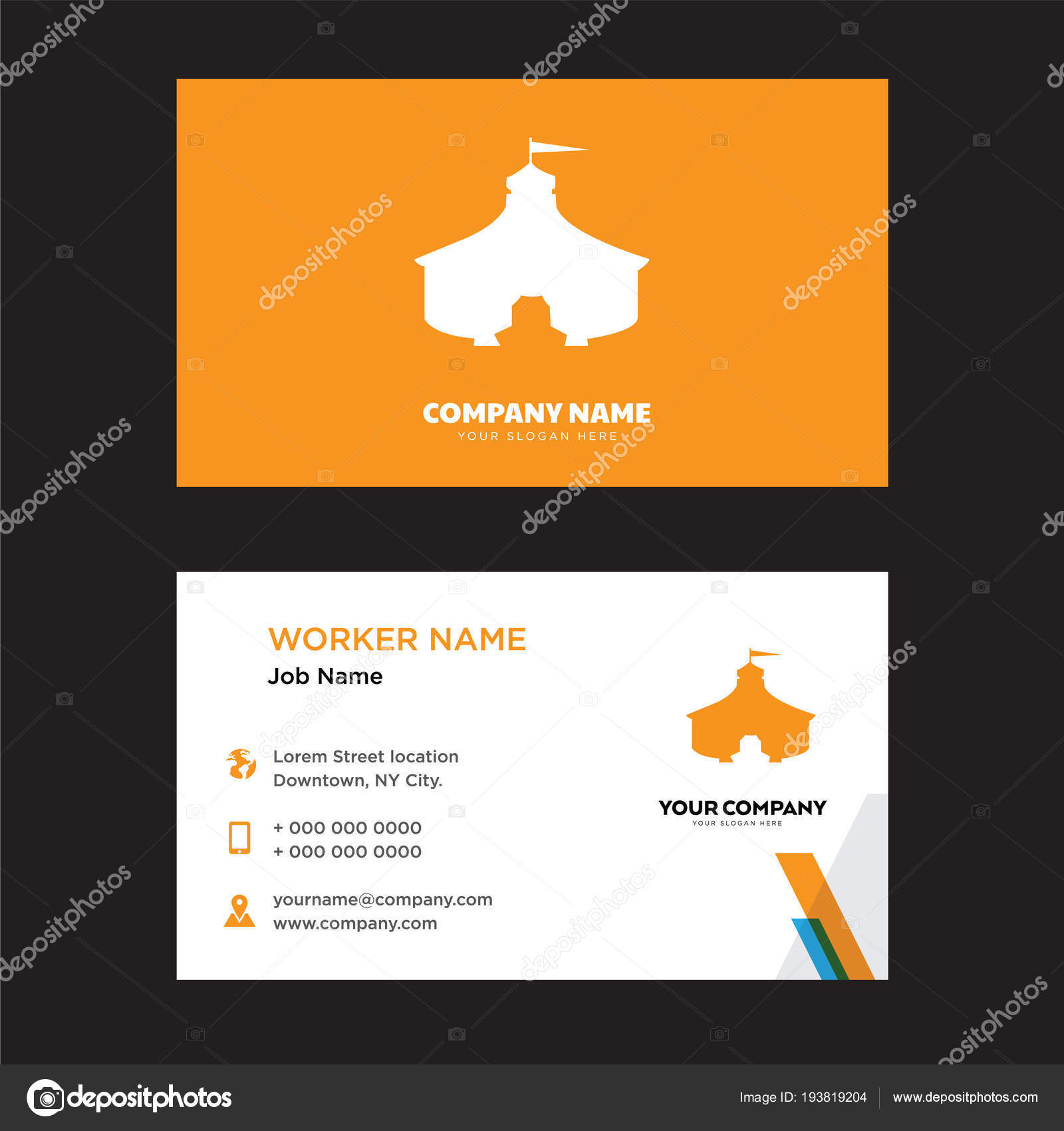 Circus Tent Business Card Design Stock Vector Vectorbest 193819204