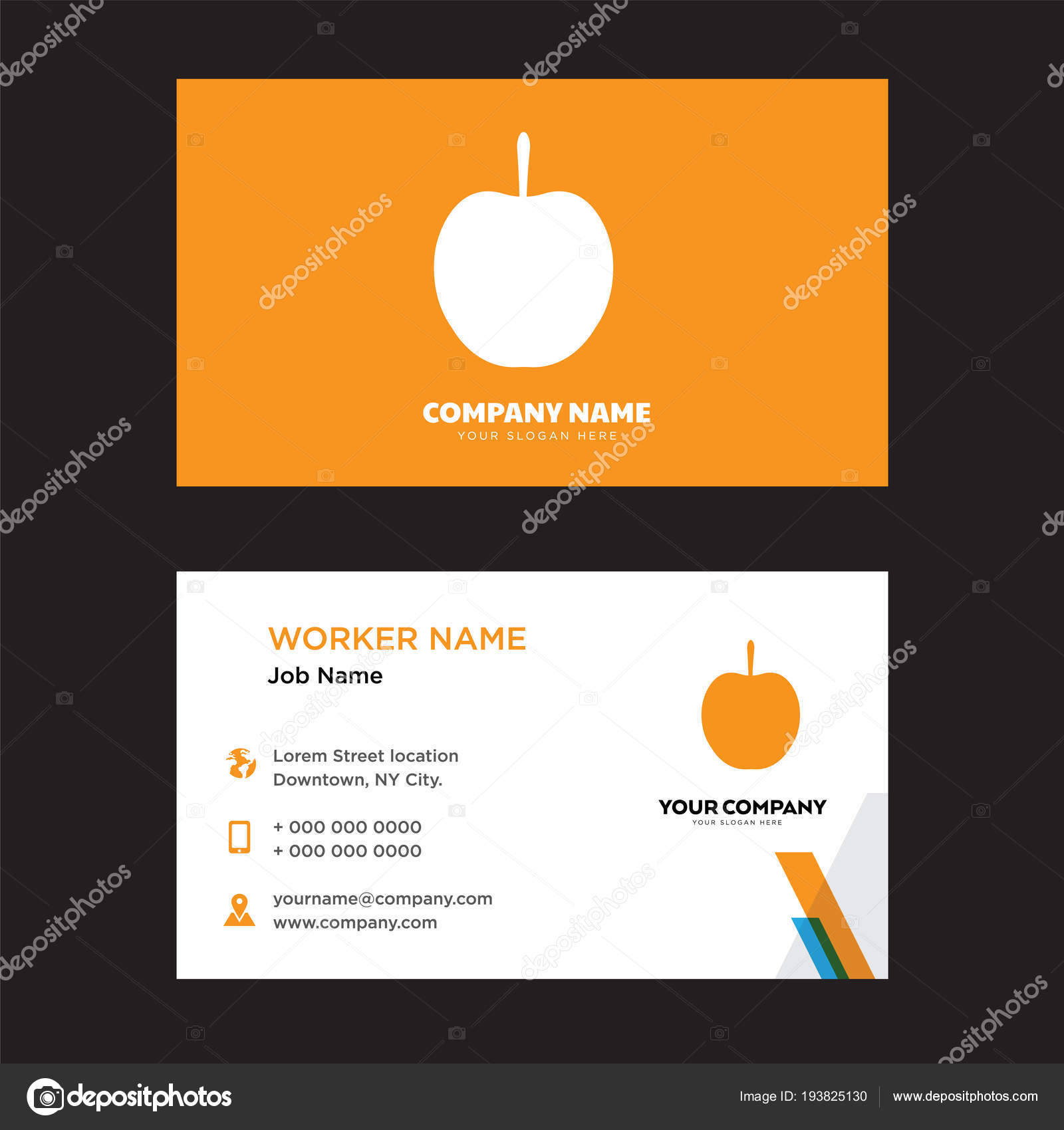 Apple business card design stock vector vectorbest 193825130 apple business card design template visiting for your company modern creative and clean identity card vector vector by vectorbest colourmoves
