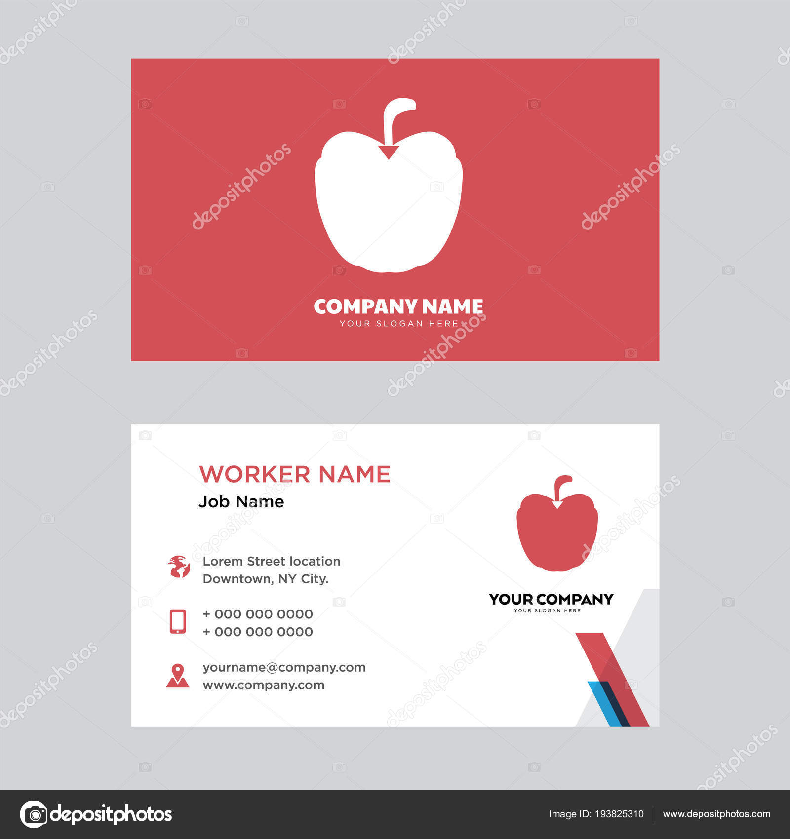 Apple business card design stock vector vectorbest 193825310 apple business card design template visiting for your company modern creative and clean identity card vector vector by vectorbest colourmoves