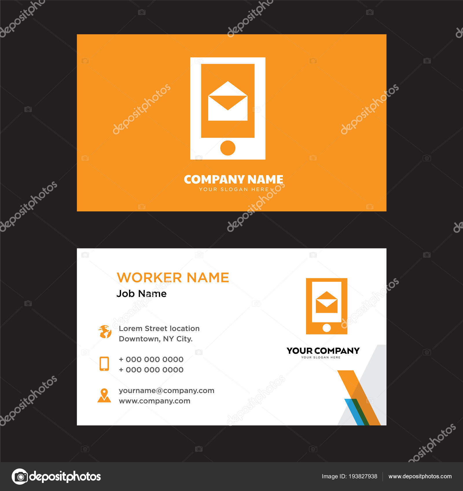 sending and receiving messages business card design — Stock Vector ...