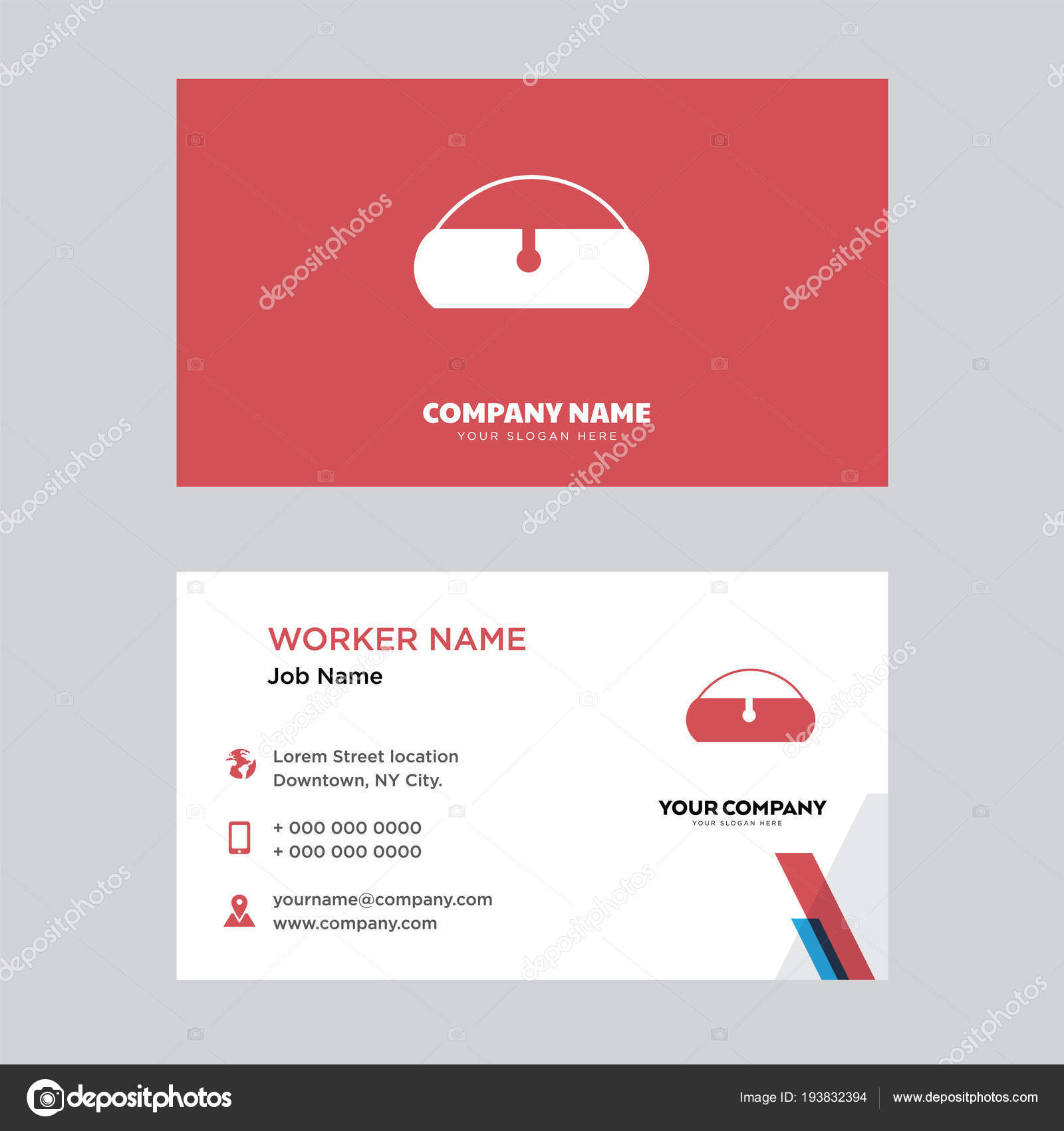 Rechteckige Beutel Tasche Visitenkarten Design Stockvektor