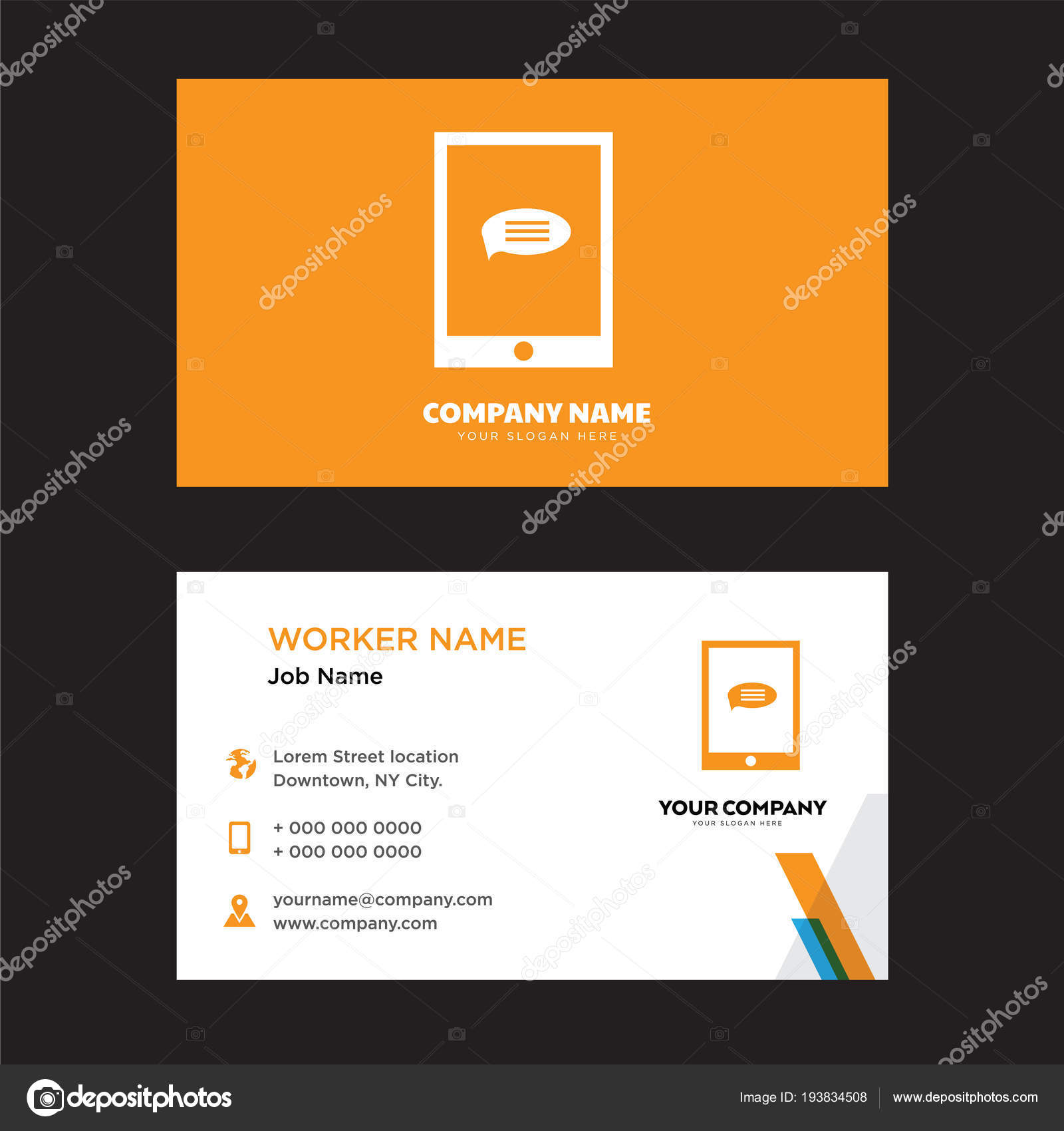 Smartphone Business Card Design Template Visiting For Your Company Modern Creative And Clean Identity Vector By Best