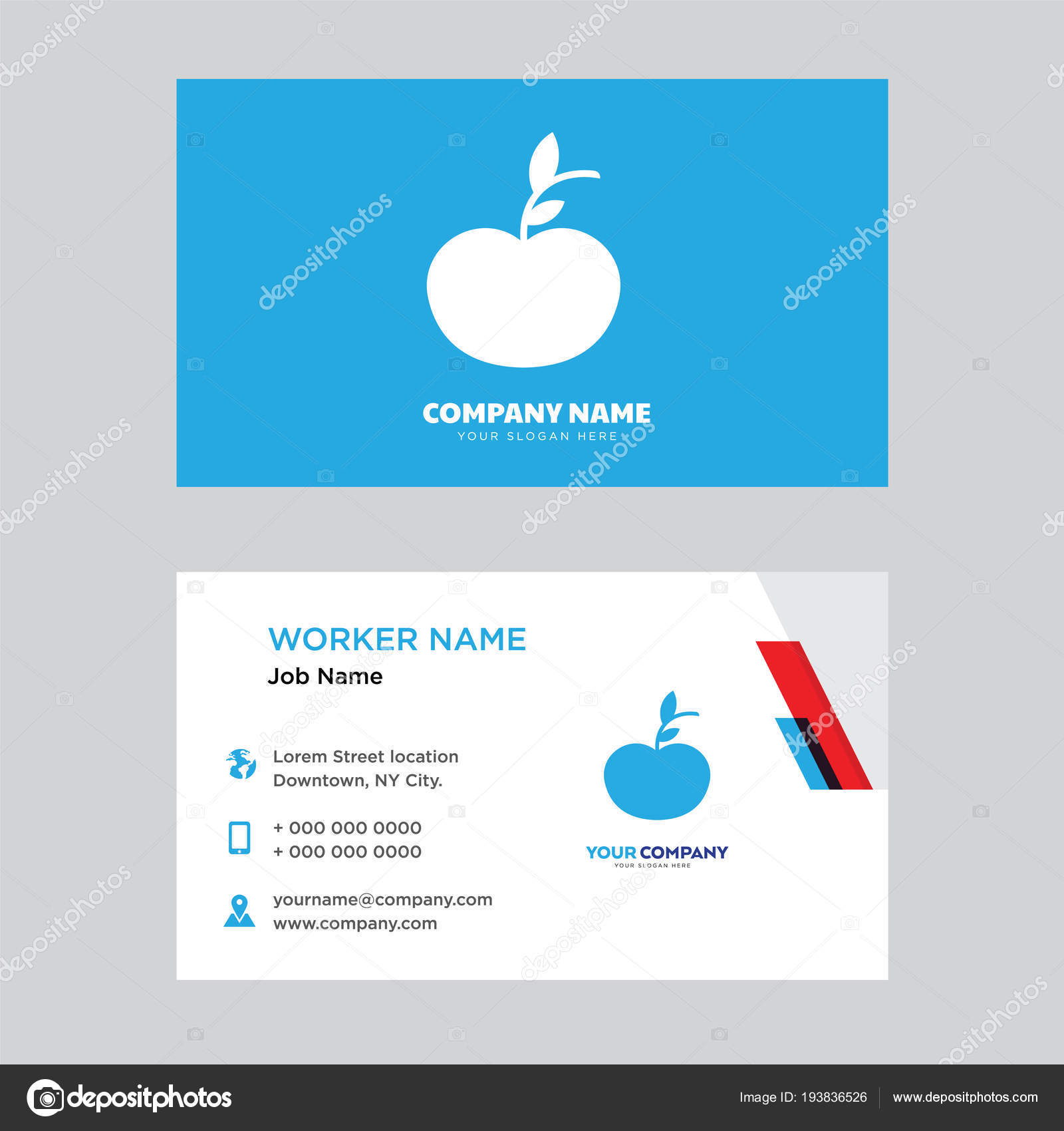 Apple business card design stock vector vectorbest 193836526 apple business card design template visiting for your company modern creative and clean identity card vector vector by vectorbest colourmoves