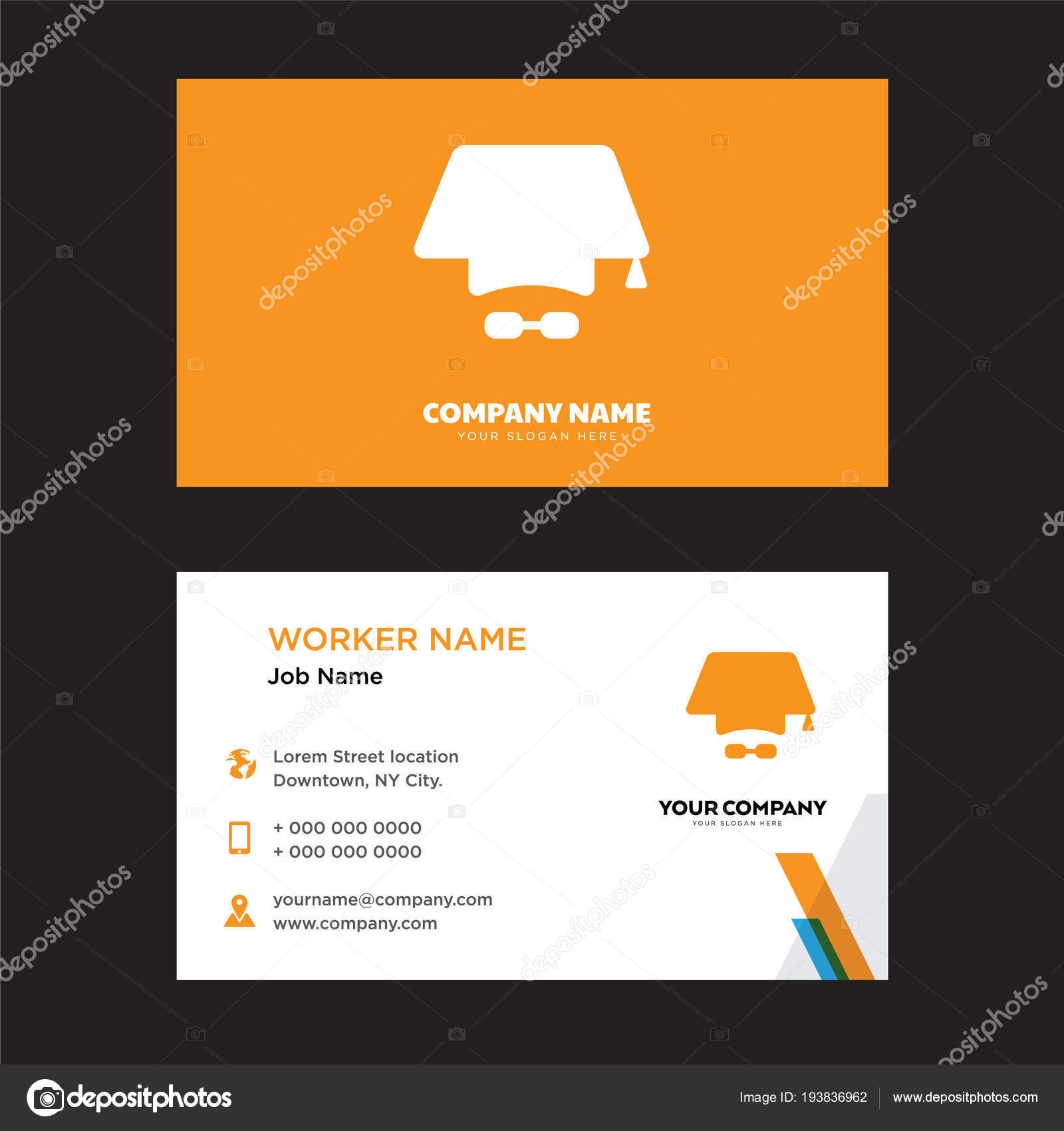 mortarboard business card design stock vector vector best 193836962