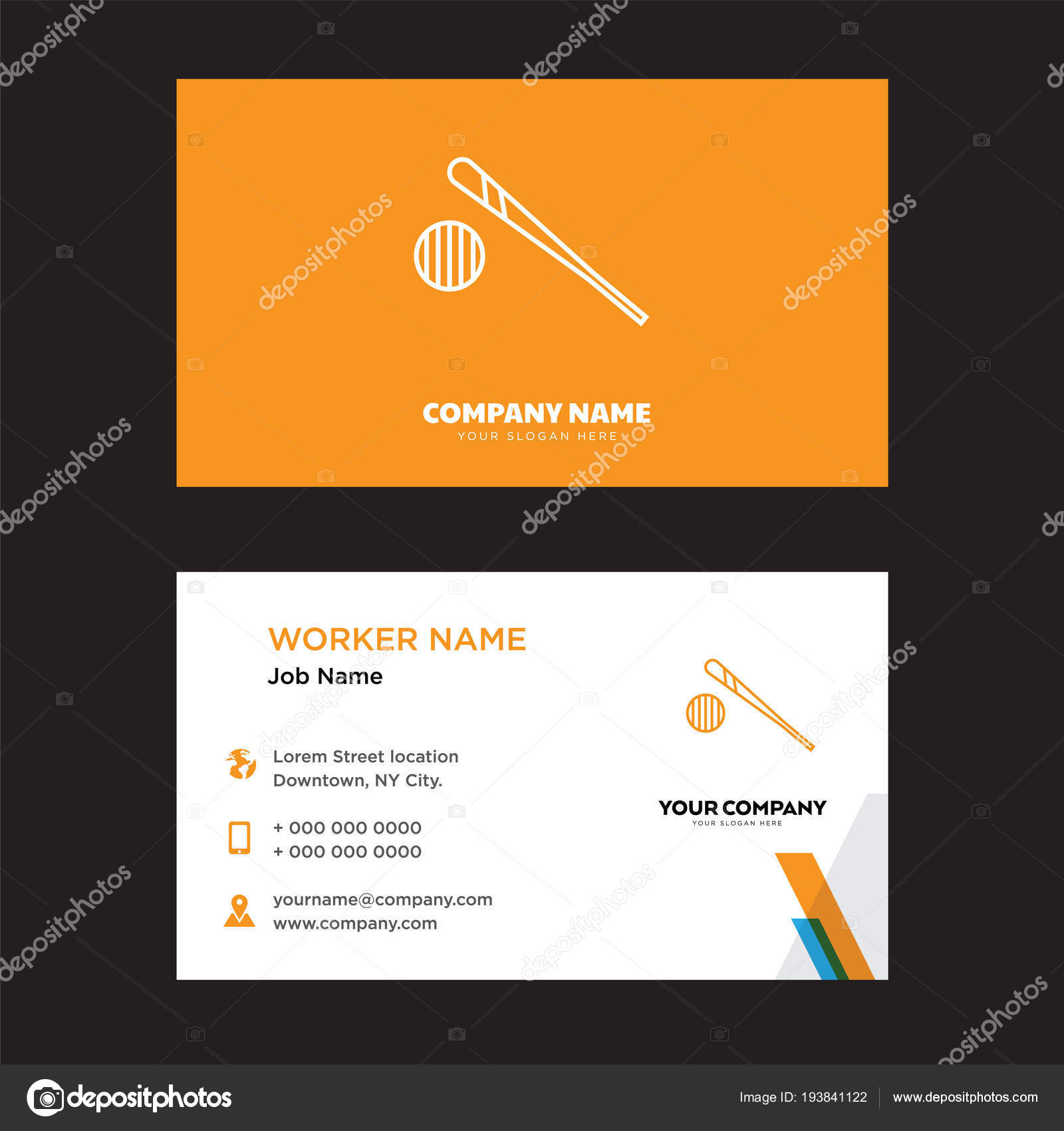 Baseball business card design stock vector sabinarahimova 193841122 baseball business card design template visiting for your company modern creative and clean identity card vector vector by sabinarahimova colourmoves