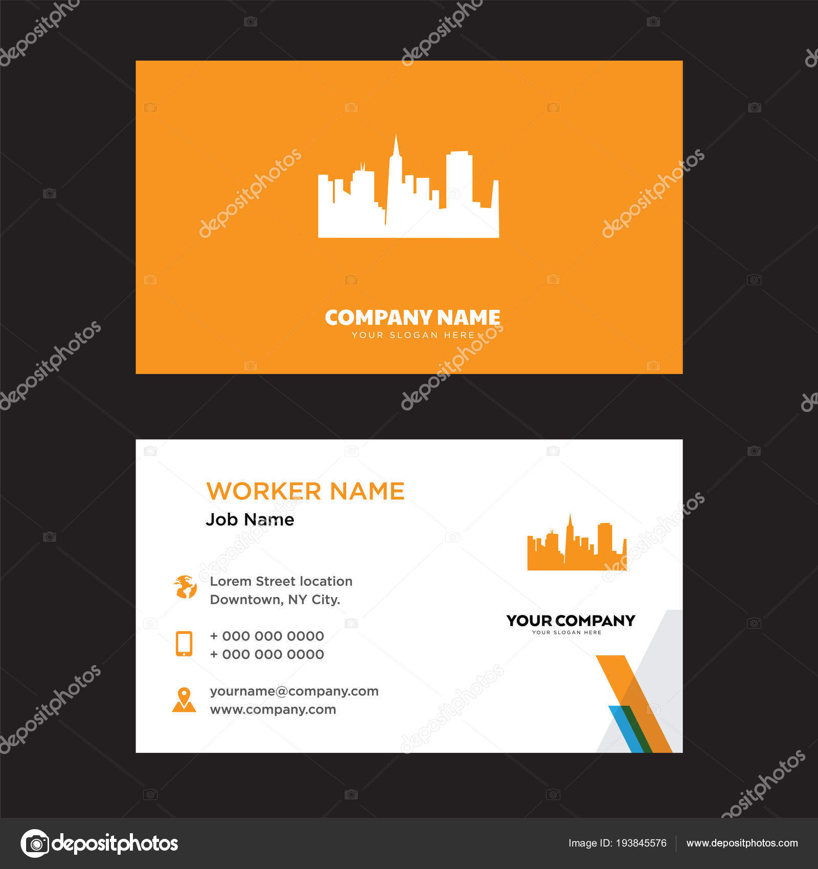 San Francisco Sky Business Card Design Stock Vector Vectorbest