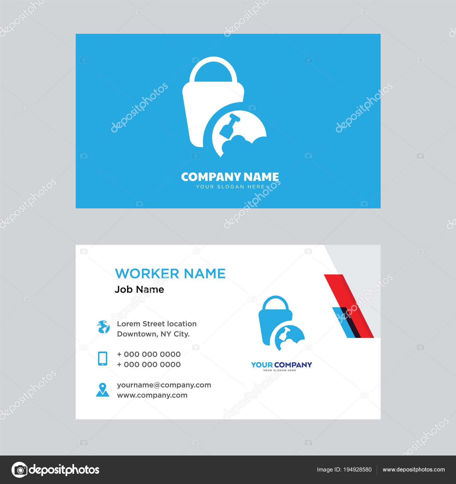 Sand Bucket Business Card Design Template Visiting For Your Company Modern Horizontal Identity Vector By Best