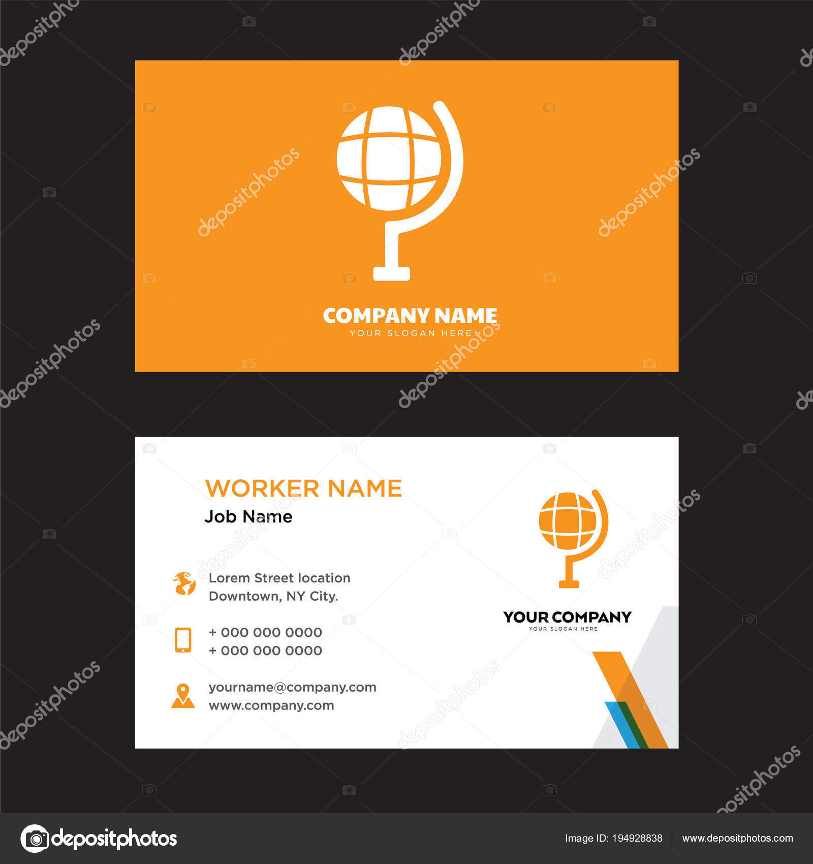 Earth globe business card design vetores de stock vectorbest earth globe business card design vetores de stock reheart Images