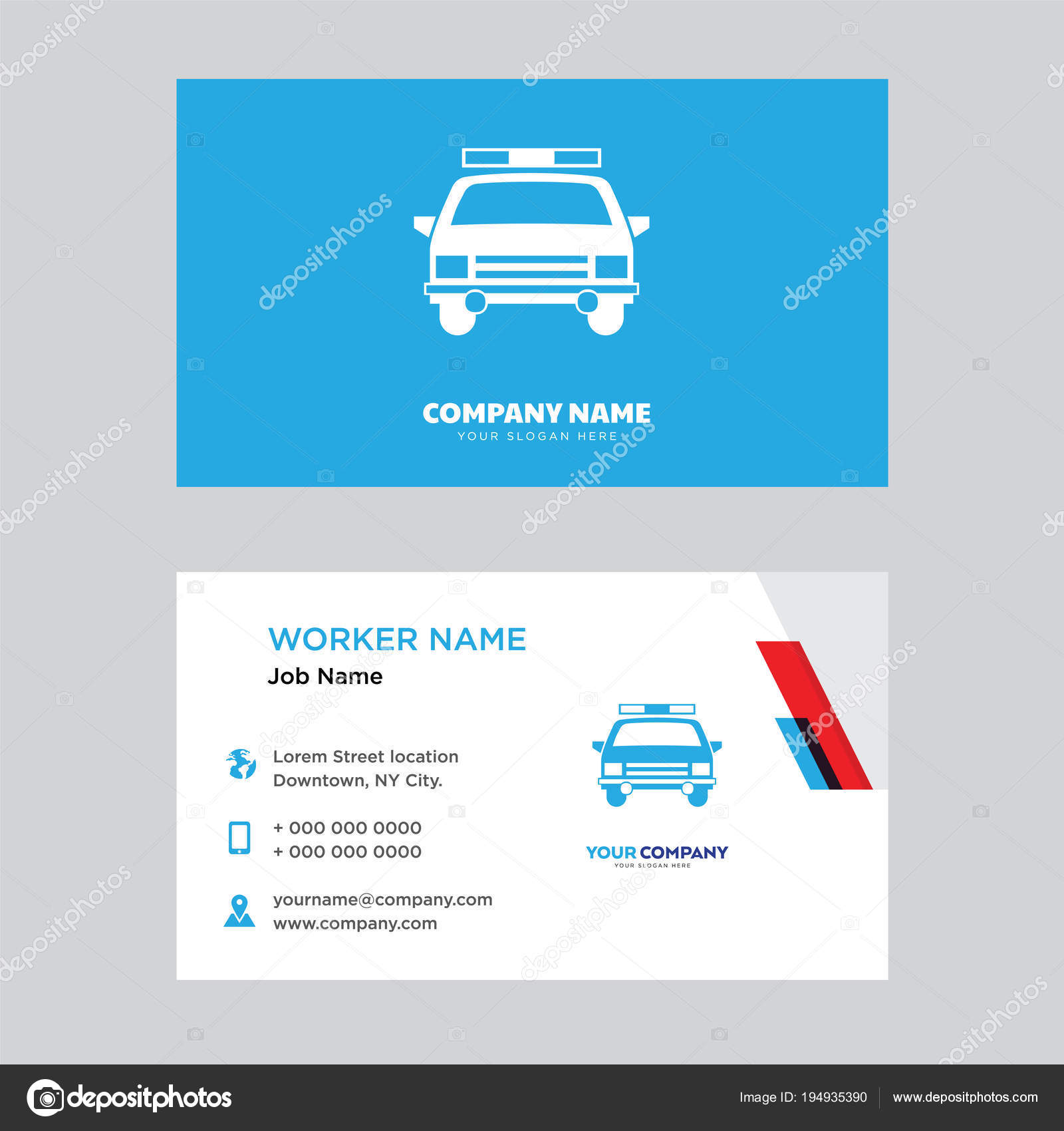 Polizei Auto Visitenkarten Design Stockvektor