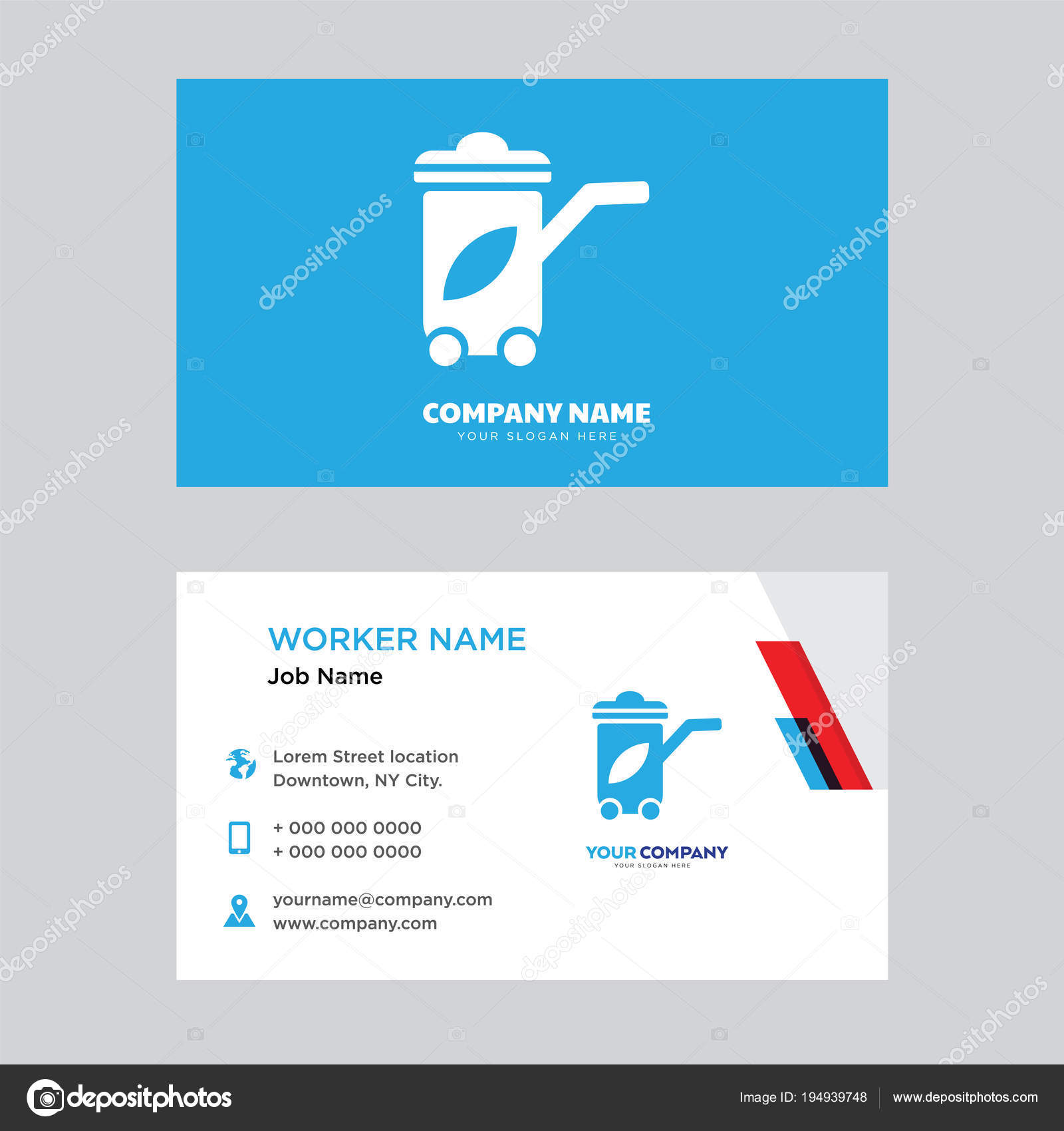 Recycling Bin Business Card Design Stock Vector