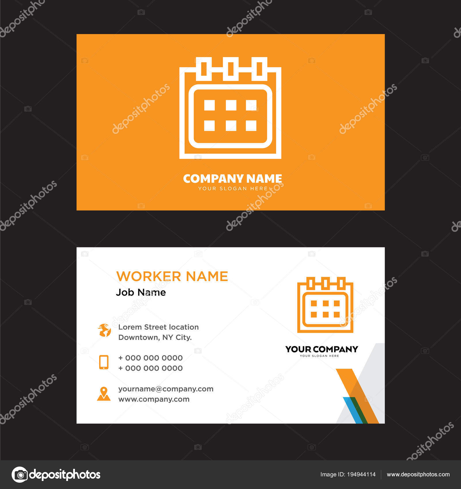 Conception De Carte Visite Calendrier Illustration Stock