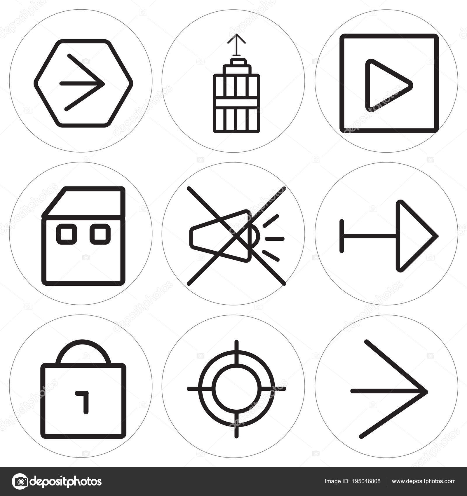 Set Of 9 Simple Editable Icons Such As Right Arrow Web Locked
