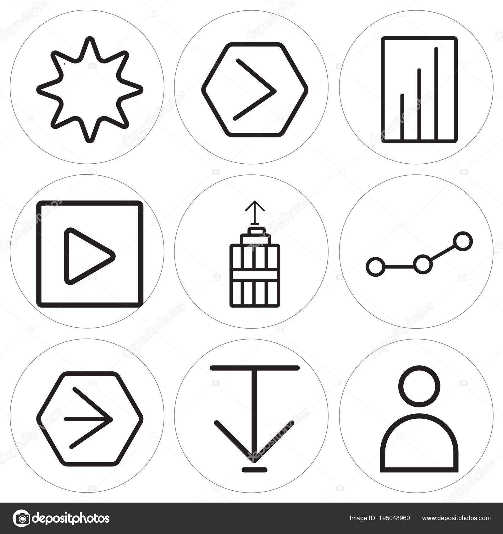 Set Of 9 Simple Editable Icons Such As User Down Arrow Youtube