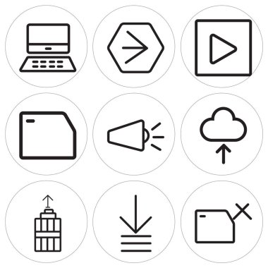 Set Of 9 simple editable icons such as Folder, Order, Garbage, Cloud, Volume, Play, Youtube, Mac, can be used for mobile, web icon