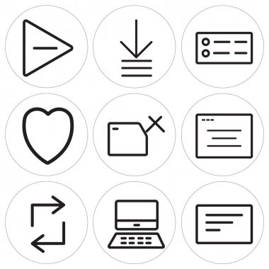 Set Of 9 simple editable icons such as Left align, Mac, Retweet, Browser, Folder, Heart, Menu, Order, Play, can be used for mobile, web icon