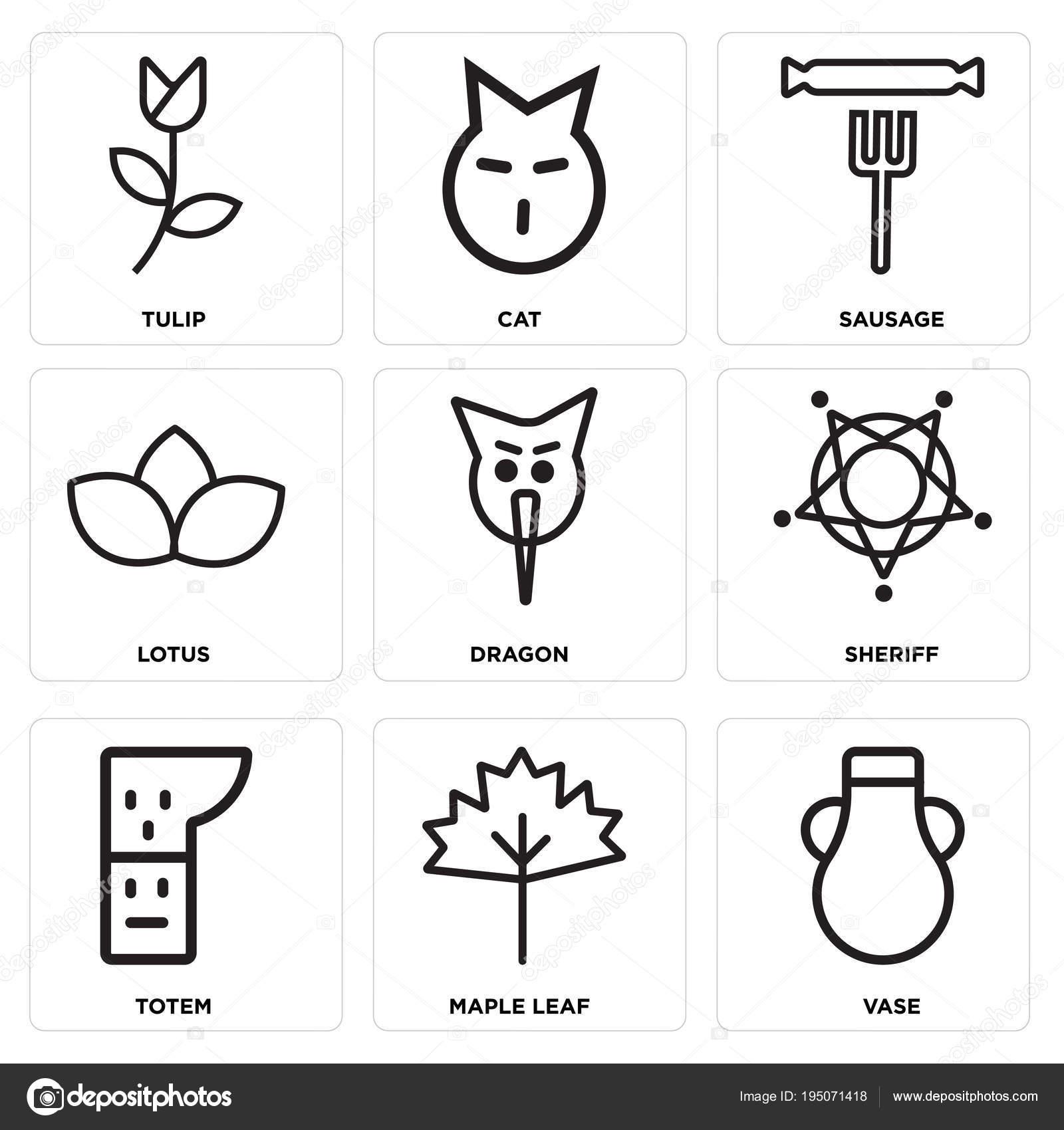 Set de 9 iconos editables simple como florero d1e2b2e46fd