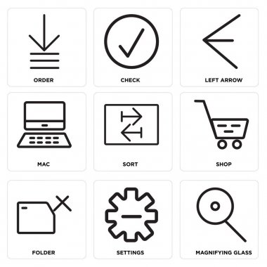 Set Of 9 simple editable icons such as Magnifying glass, Settings, Folder, Shop, Sort, Mac, Left arrow, Check, Order, can be used for mobile, web icon