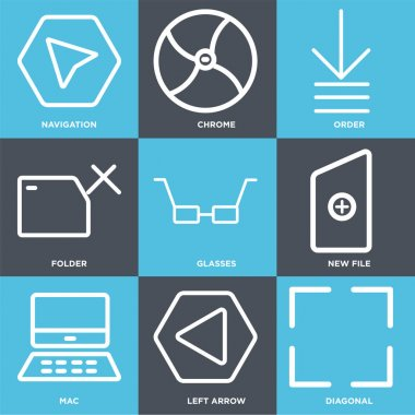 Set Of 9 simple editable icons such as Diagonal, Left arrow, Mac, New file, Glasses, Folder, Order, Chrome, Navigation, can be used for mobile, web icon