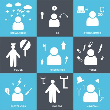 Set Of 9 simple editable icons such as Magician, Doctor, Electrician