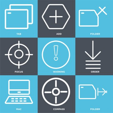 Set Of 9 simple editable icons such as Folder, Compass, Mac, Order, Warning, Focus, Add, Tab, can be used for mobile, web icon