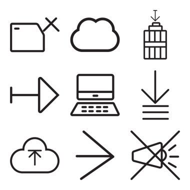 Set Of 9 simple editable icons such as Mute, Right arrow, Upload, Order, Mac, Garbage, Computing, Folder, can be used for mobile, web icon